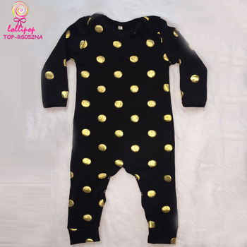 fb94a0a88e09 USA Black gold dots long sleeve cotton girls romper wholesale baby girls  clothes long leg baby