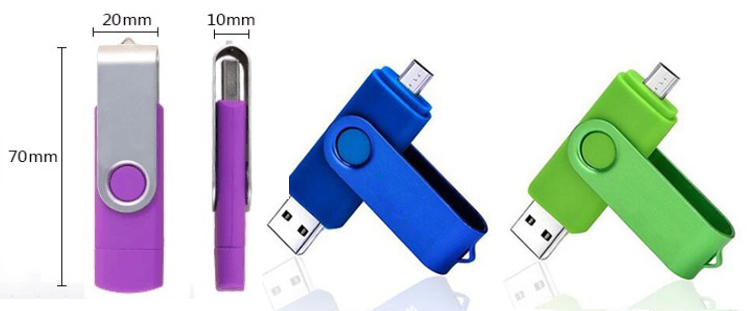 Smart phone Micro UDP 2.0 pendrive 16Gb portable storage U disk 2 in 1 memory stick OTG USB Flash drive