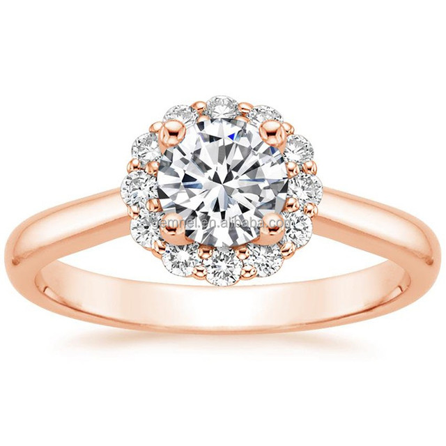 New arrival cz lotus flower shape 14K rose gold diamond ring design