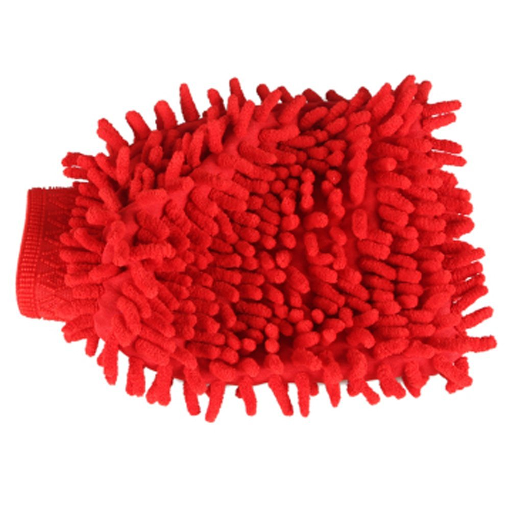 Household Chenille Dust Cleaning Glove Gloves Cleaner for Home/Car, Red