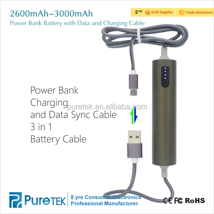 2600mah Manual For Power Bank With Iphone 6 Data Cable And Data