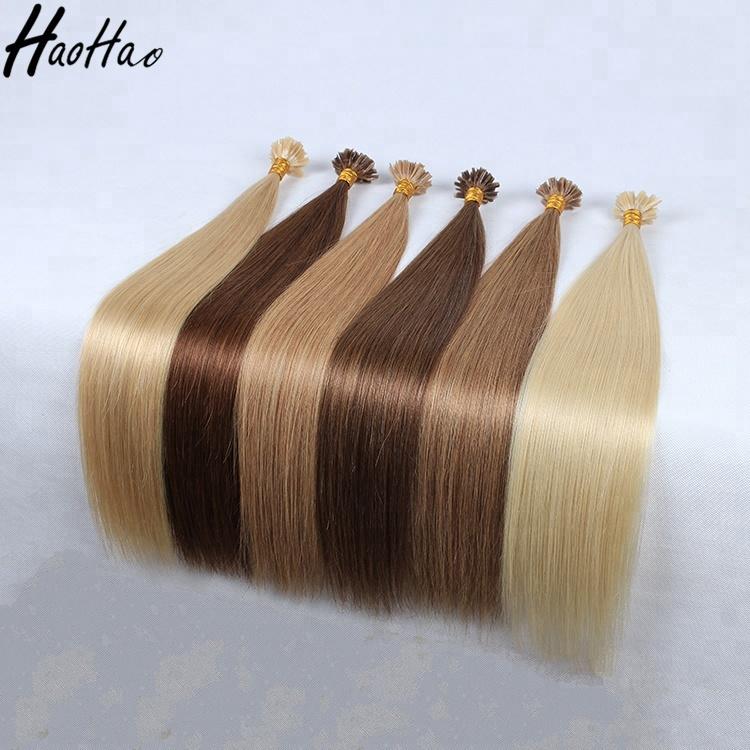 different color straight remy human keratin nail u tip hair