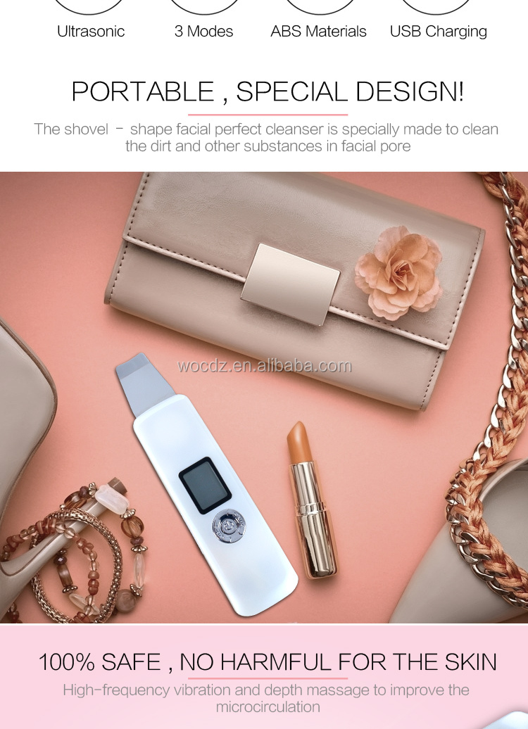 Beauty equipment portable and rechargeable ultrasonic skin cleanser facial scrubber