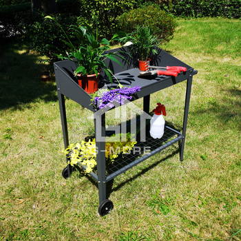 G-MORE Two-Wheels Metal Potting Table,Stainless Bolt & nuts Versatile Steel Pot Table