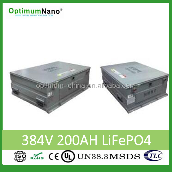 Lithium battery 384v 200ah for 6.5 meters electric bus