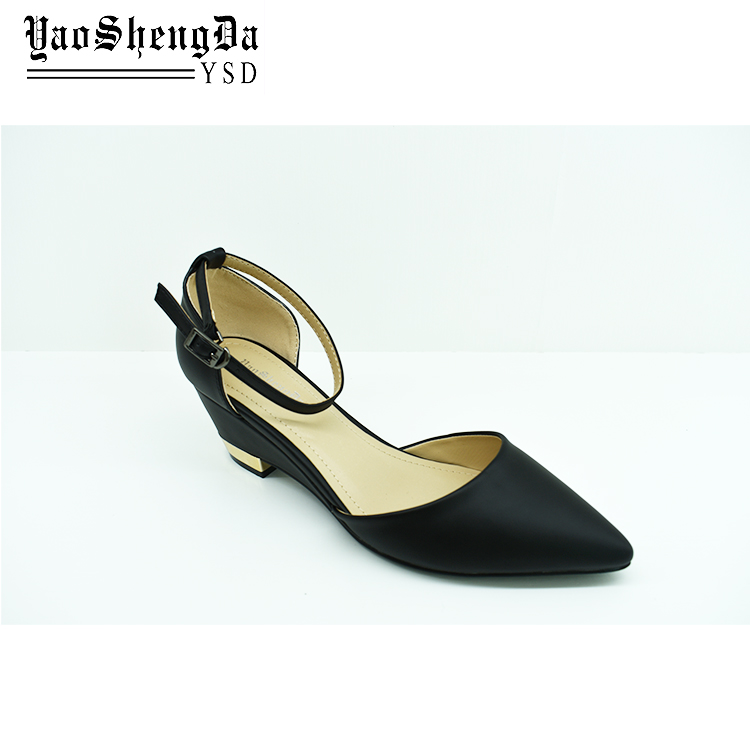 Large Size Classic Black Pump Wedge Ladies Heel Shoes For Office