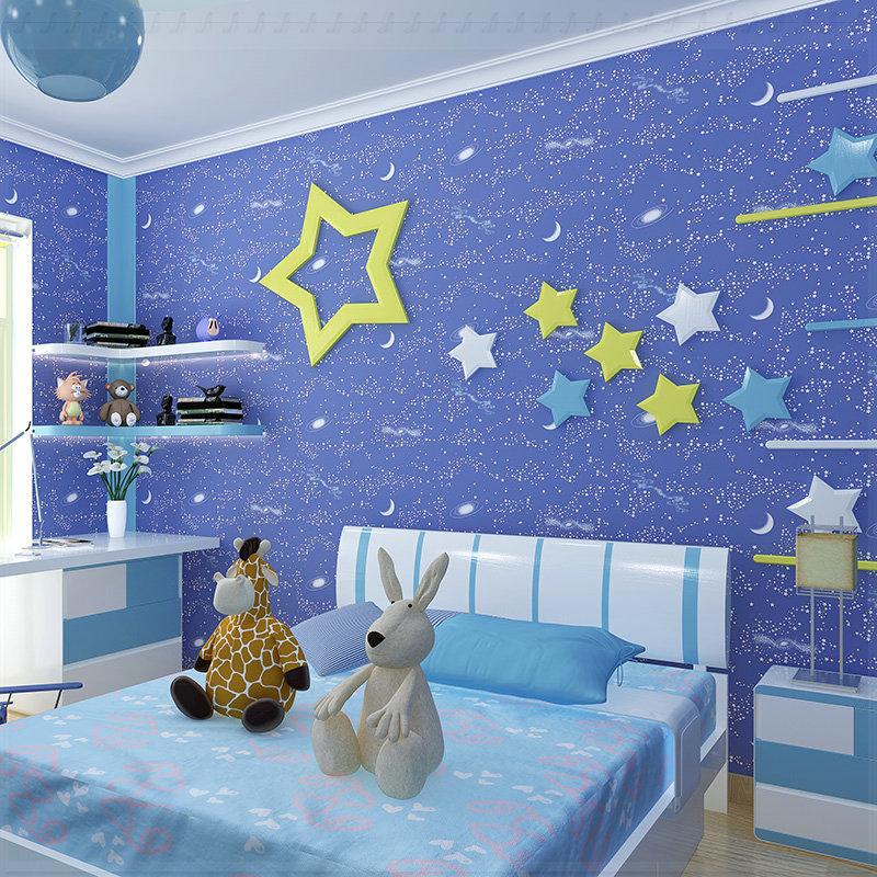 Non Girly Bedroom Ideas: Cartoon Luminous Non Woven 3D Wallpaper Child Girl Boys