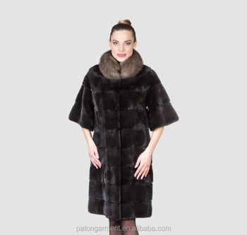 Wholesale Short Loose Sleeves Long Hair Sable Collar Black Mink ...