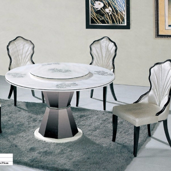 Marble Top Dining Table 6 Chairs Set