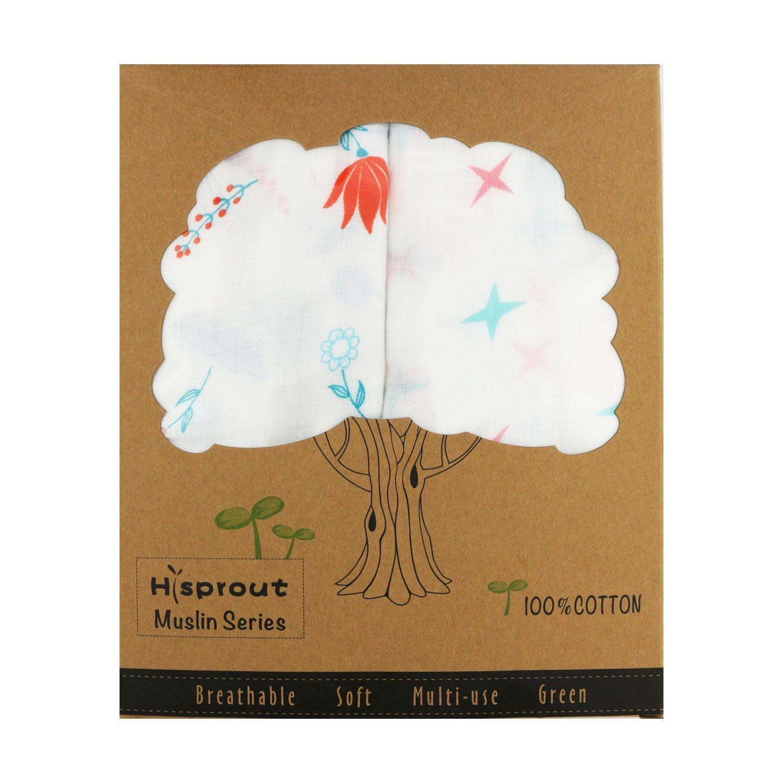 Hi Sprout Unisex Super Soft 47 Inch x 47 Inch Cotton Muslin Swaddle Blanket Set+ 2pcs Baby Washcloth (Cute Flower)
