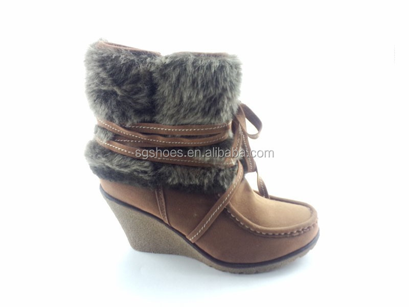 2014 High Quality Lady Wedge Heel Ankle Fur Boot