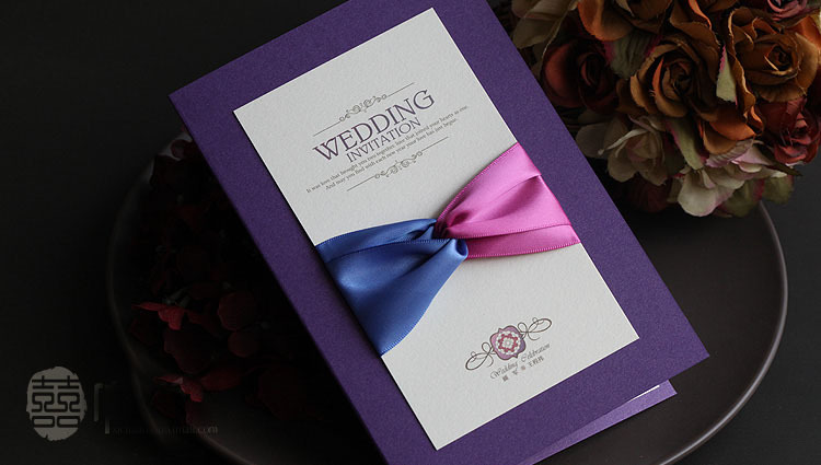 Wedding Invitations In Bulk: 20pcs/Lot Wholesale Purple Wedding Invitations Elegant