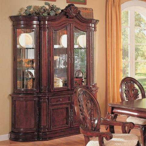 Attrayant China Cabinet Buffet Hutch Traditional English Style Cherry Finish