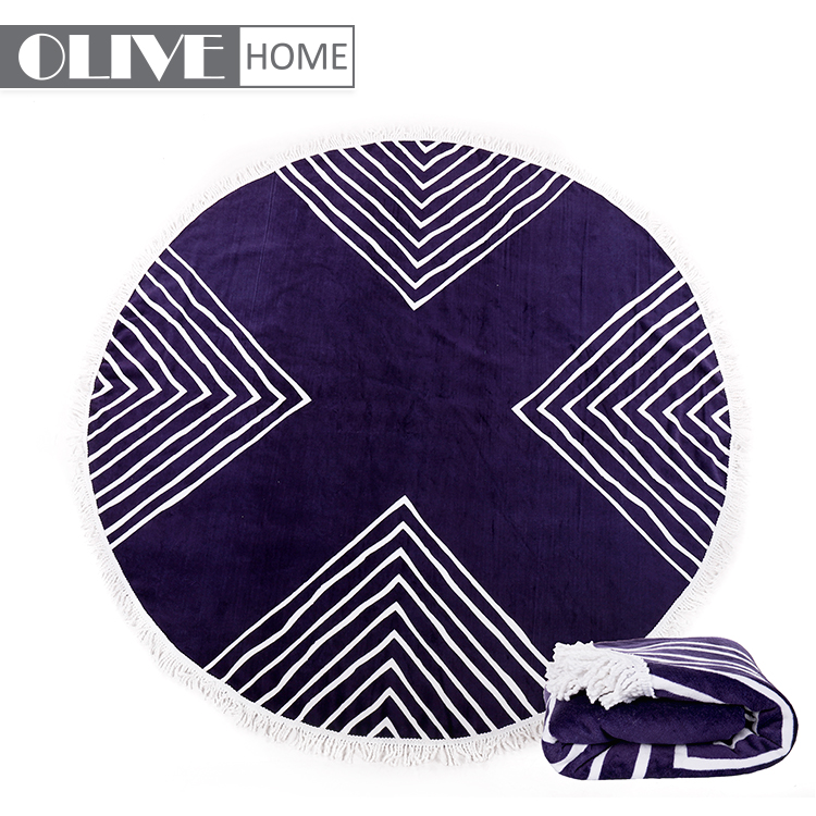 2018 Hot Selling Custom Large 100% <strong>Cotton</strong> OR Microfiber Circle Plain Round Beach Towel With tassels
