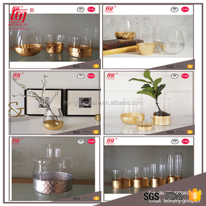 Best selling home decor high quality fancy small gold cylinder glass vase