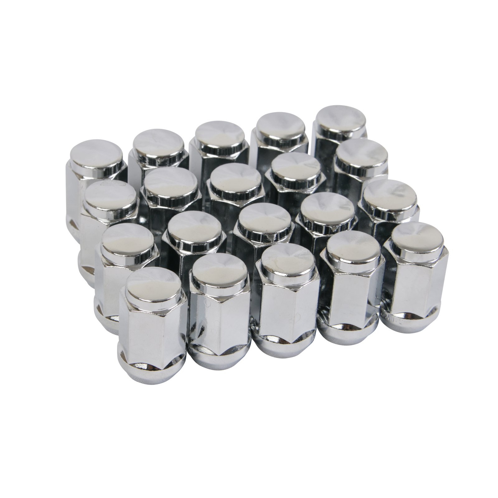 "20pc Chrome Silver Bulge Lug Nuts 1/2-20 Thread Size - Conical Cone Taper Acorn Seat Closed End - 1.4"" Length - Installs with 19mm or 3/4 Hex Socket - for Jeep Cherokee Wrangler Liberty + More"