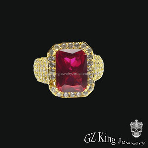 hip pop gold plated micro pave men 925 sterling silver genuine ruby ring designs for men jewellery