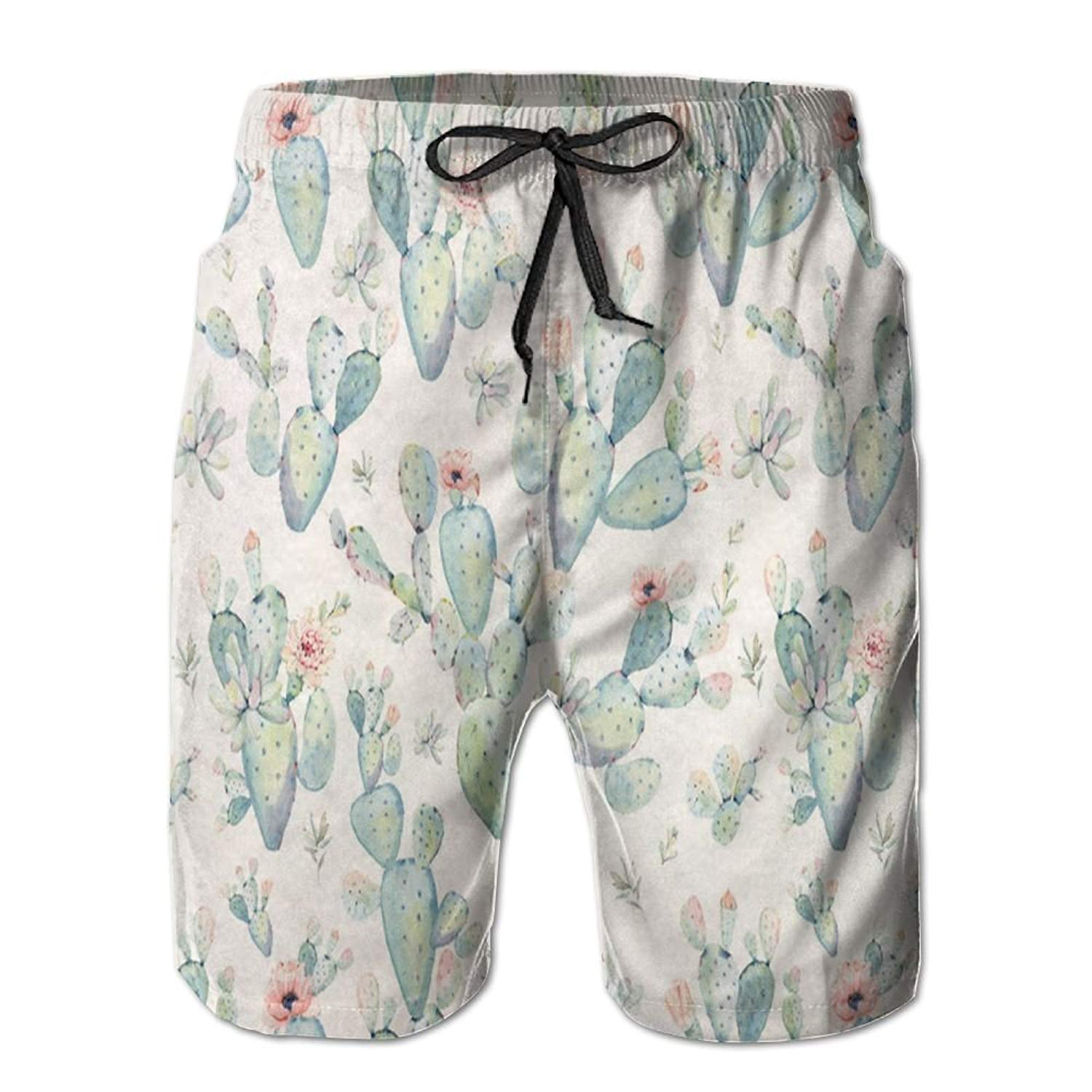 f849c12253 Get Quotations · Alin-Z Cactus Flowers Cactus Men's Quick Dry Swim Trunks  Beach Surfing Shorts
