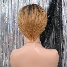 Короткие прямые синтетические парики с темным корнем, цвет Омбре, коричневый, 50% человеческие волосы, парики для женщин белого/черного цвета(Китай)