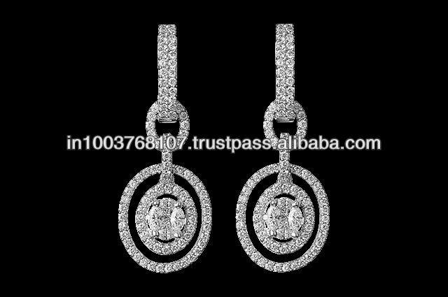 Oval Shaped Hoop Diamond Earrings
