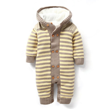 New design cheap price newborn knitted sweater soft baby cotton romper with hoods