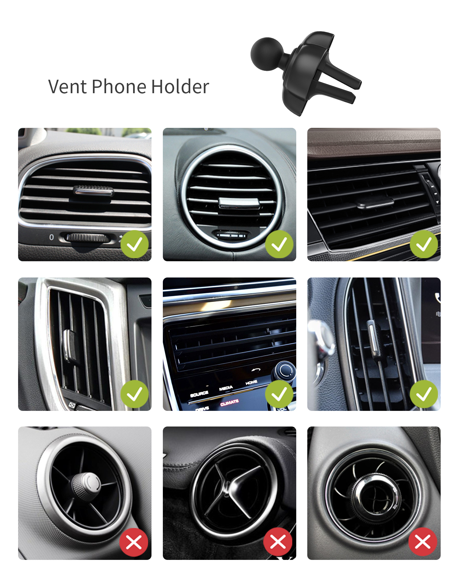 2019 new arrival 3 in1 car magnetic air vent dashboard windshield phone holder for smartphone gps