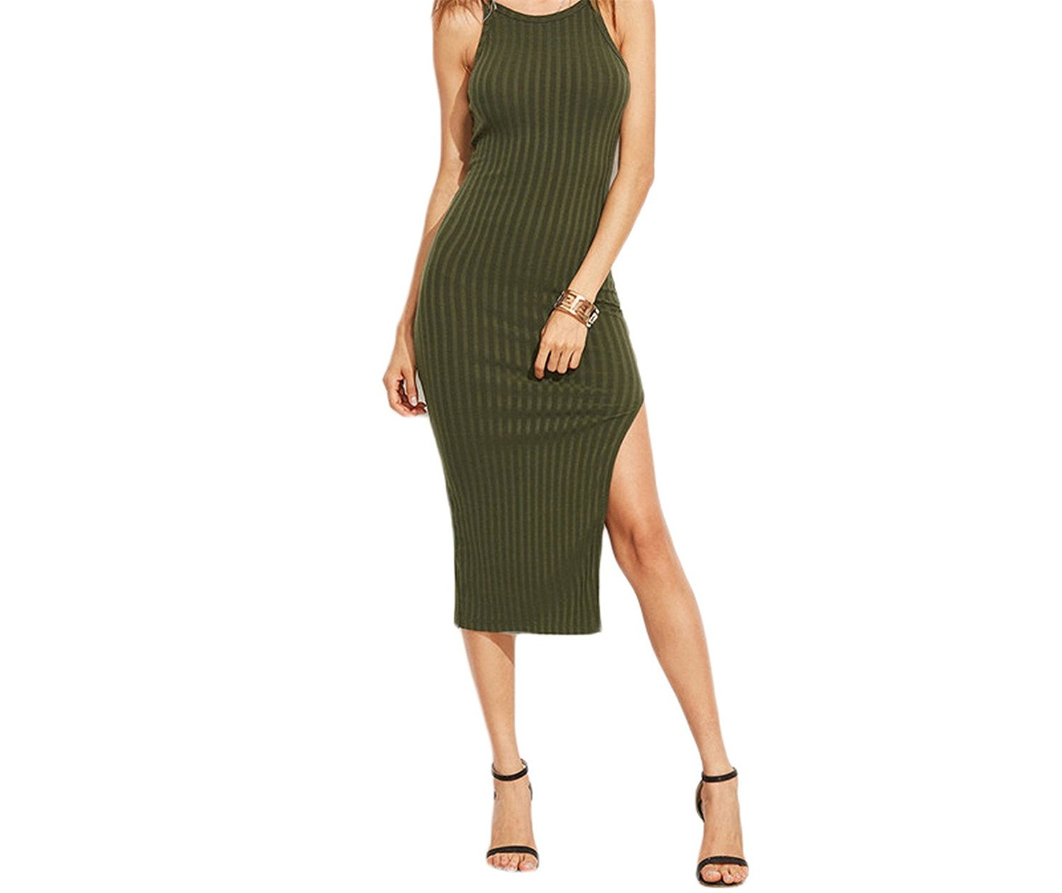 44bb8a16af Get Quotations · OnIn Athletic-two-piece-swimsuits Sexy Bodycon Cami Dress Side  Slit Ribbed Midi
