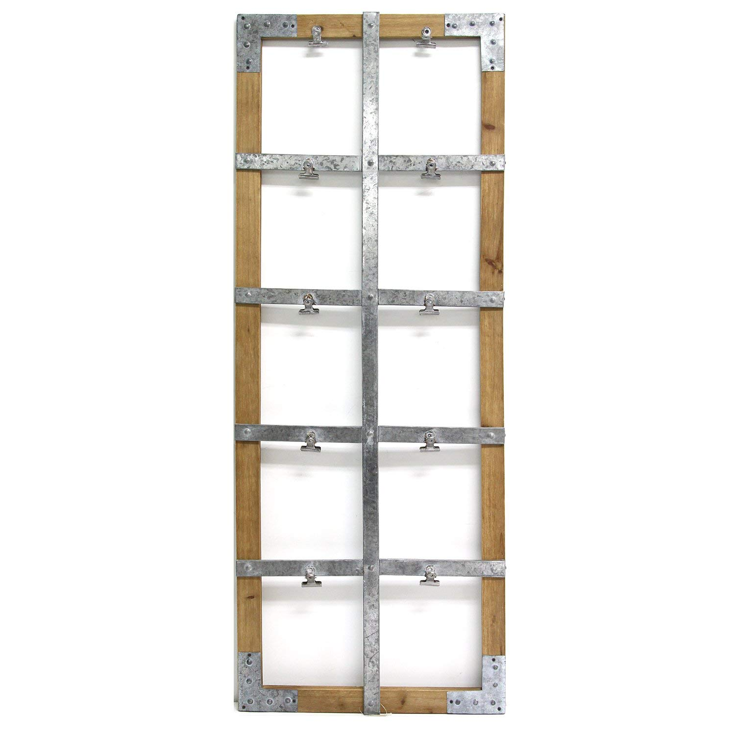 Stratton Home Decor Wood and Metal Photo Clip Wall Décor, Natural Wood/Galvanized