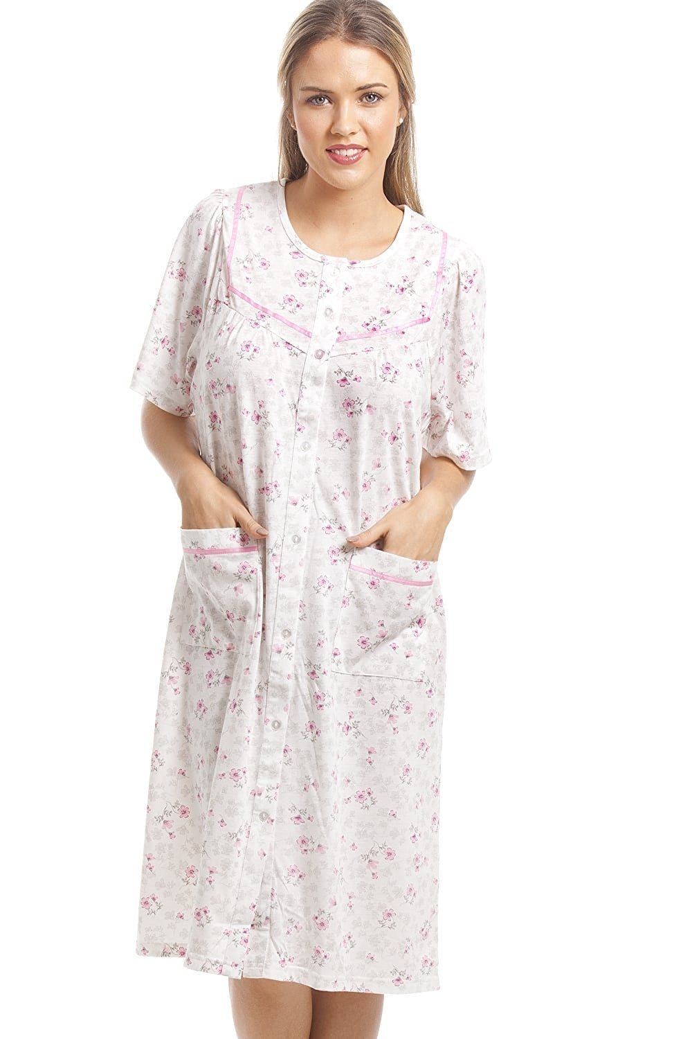 Get Quotations · Camille Womens Ladies Classic Pink Floral Print White Short  Sleeve Button Up Nightdress 0ecec7317