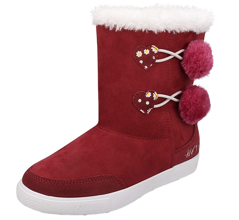 3e77c33d1e0d Get Quotations · iDuoDuo Girls Cute Pom Pom Furry Boots Princess Zipper  Winter Party Mid Boots (Little Kid