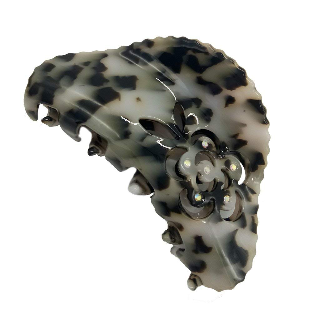 SINARRE Claw Clip Claw with Leopard and Diamond Design Beautiful Fashion Hair Claw Clip Barrettes for Women and Girls (Z11)(Black)