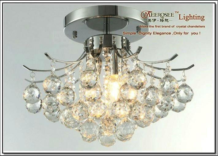 Meerosee Basket Crystal Semi Flush Ceiling Light