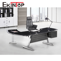 Ekintop cheap price bank black acrylic tempered modern glass executive office desk with glass top
