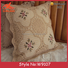 W9107 chinese embroidered dobby knit purple cushion cover pillow cover