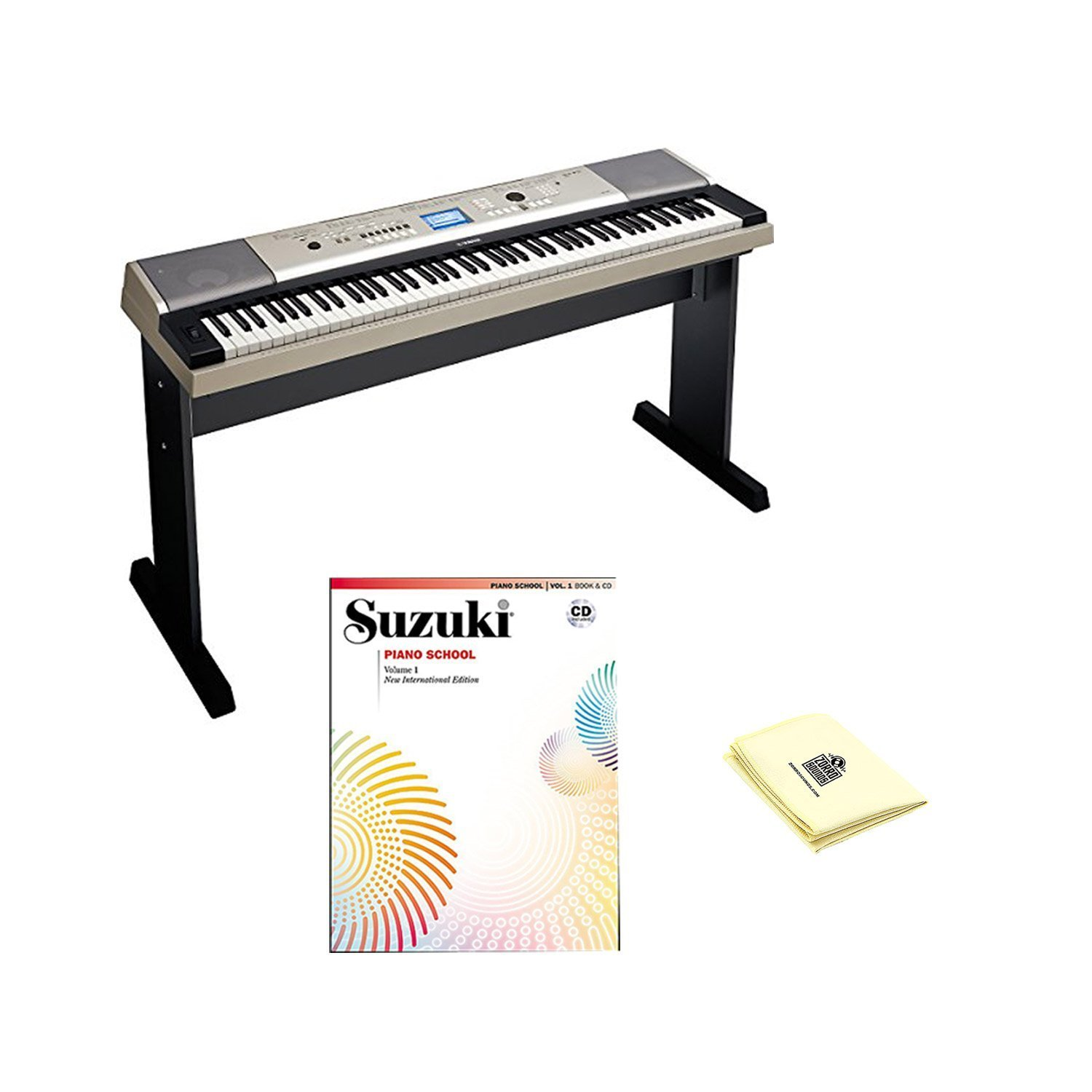 Yamaha YPG-535 88-key Portable Grand Graded-Action USB Keyboard with Matching Stand and Sustain Pedal, Piano Book+CD Volume 1 and Polishing Cloth