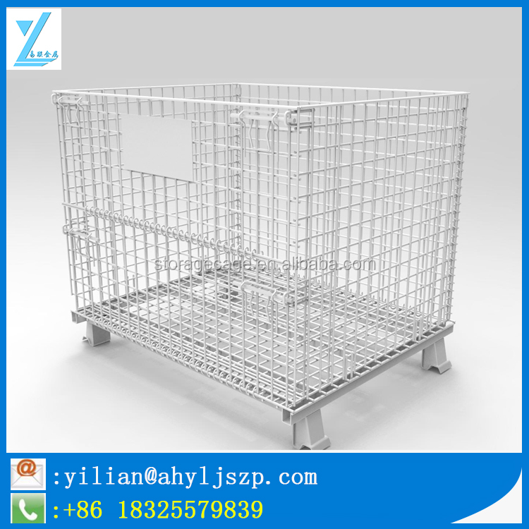 Heavy Duty Foldable Metal Warehouse Cage/ Wire Box/ Mesh Container For Storage Use