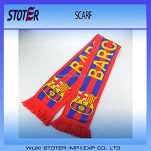 promotional jacquard football event acrylic reverse knitted scarf
