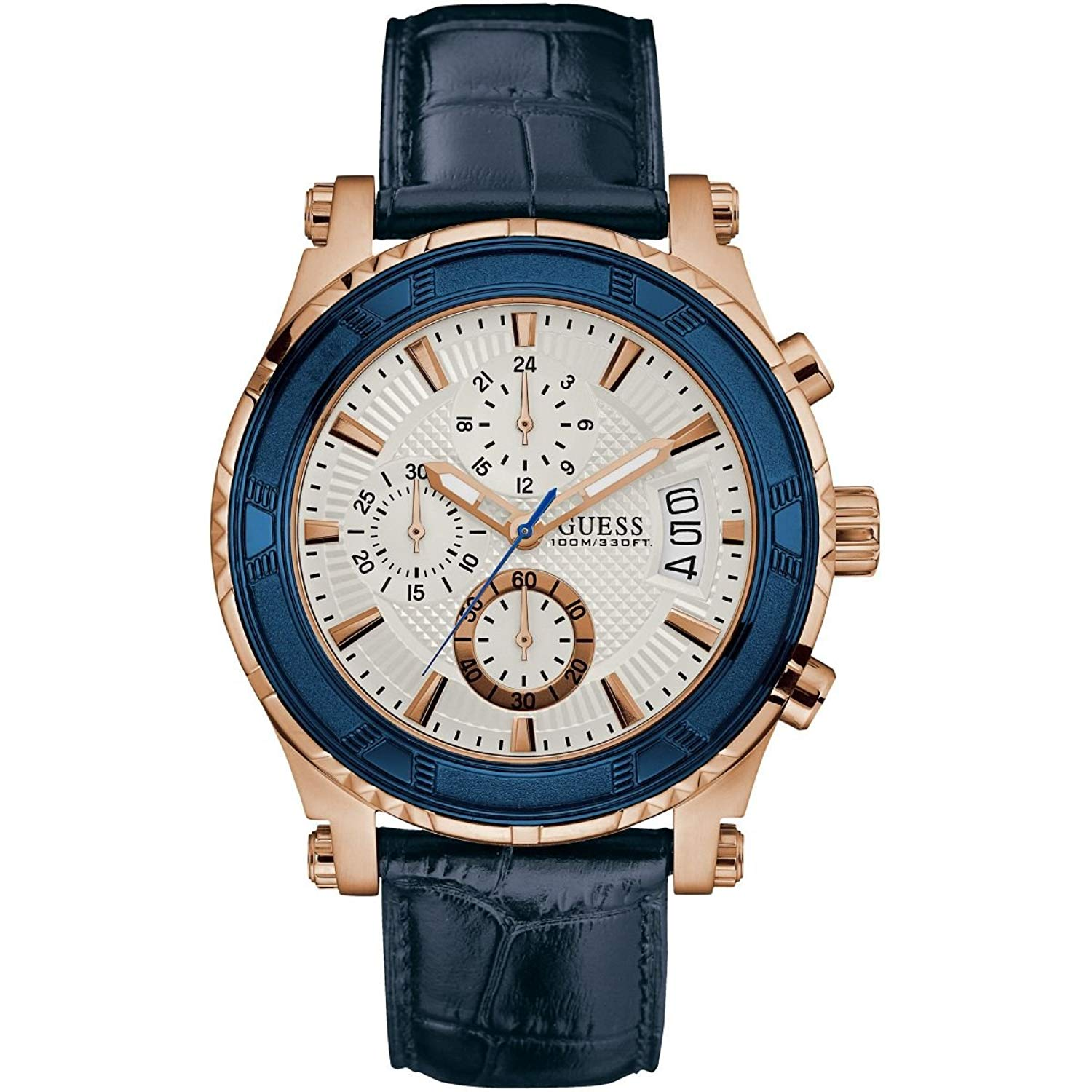 fed0e288b0f96 Get Quotations · Guess Watches Men s Guess Men s Leather Blue-Rose Gold  Watch