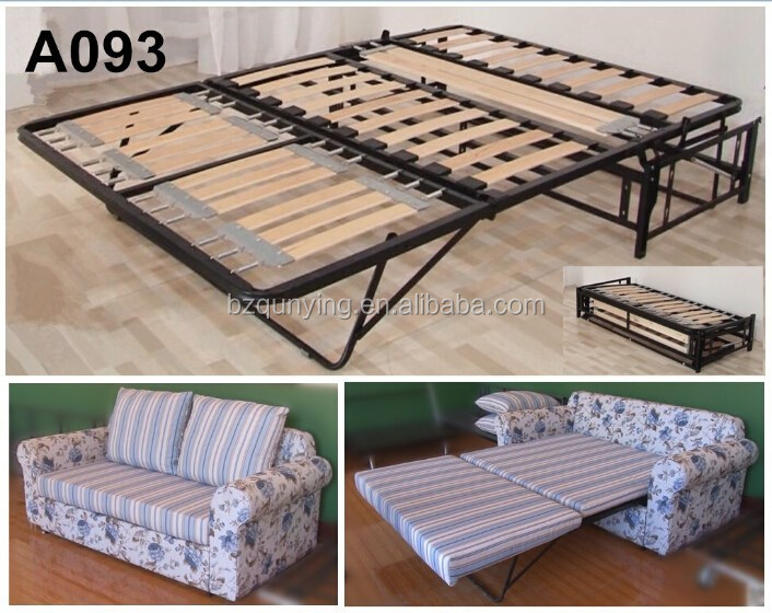 Newest Retractable Saving Space Wooden Slat King Size Sofa Bed Mechanism Frame