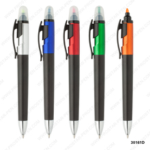 Click action ballpen with highlighter Matt black barrel and clip, chromed tip.