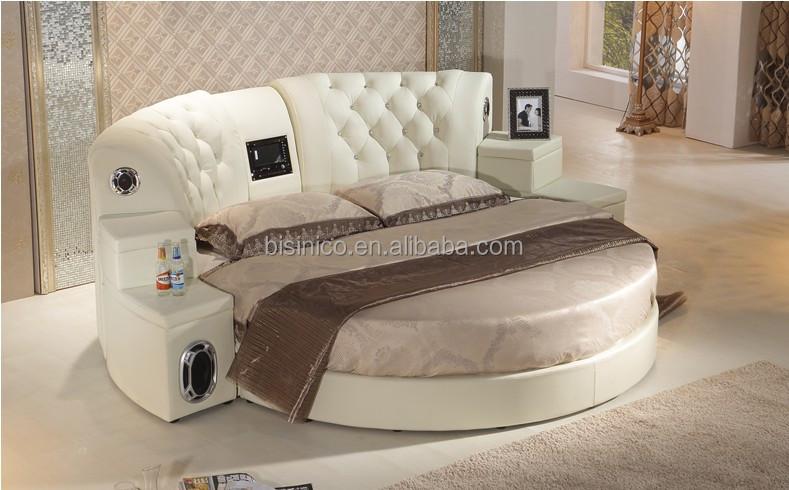 bisini massage v ritable en cuir dvd lit rond avec haut parleur h tel de massage de sexe lit. Black Bedroom Furniture Sets. Home Design Ideas