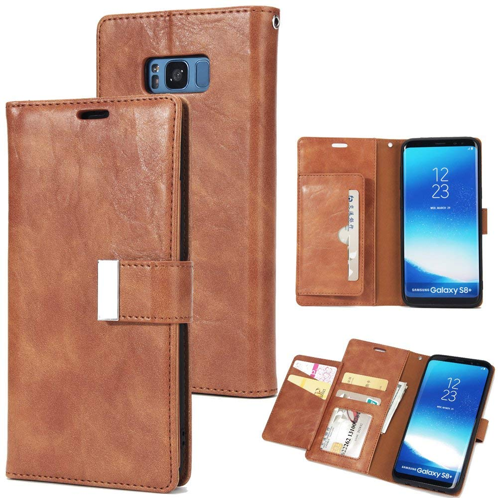 Scheam for Samsung Galaxy S8 Plus Case, [Extra Card Slot] [Wallet Case] PU Leather TPU Casing Girls [Drop Protection] Case Compatible with Samsung Galaxy S8 Plus, Brown