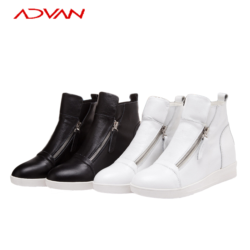 Winter Boots For Women White Round Toe Side Zip Low Heel Genuine Leather Women Boots