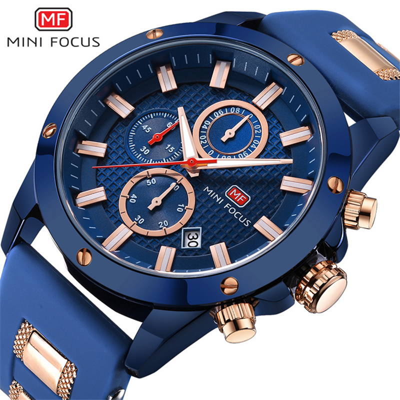 MINI FOCUS 0089G Top Brand Luxury Watch Men Quartz Clock Insert Metal Rubber Strap 6 Hands 24H Calendar 3D Bolt Design Watch
