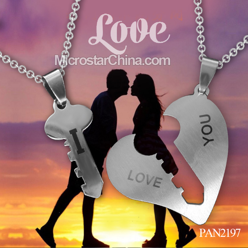 STOCK NEW fashion stainless steel couple necklace for lover
