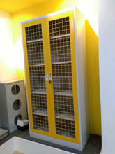 Steel yellow mesh door 2 door storage cabinet
