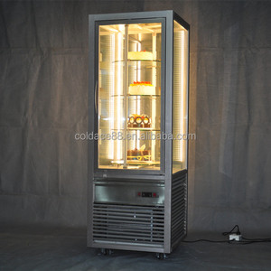 Supermarket showcase upright display cabinet four around glass cooler