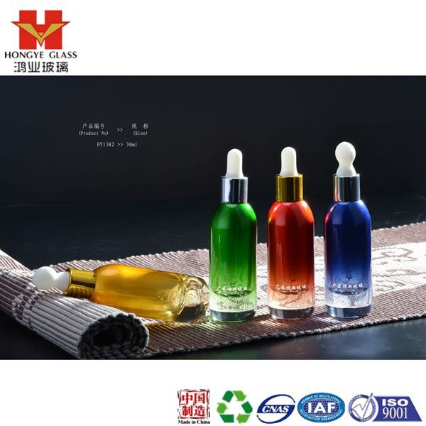 Essential oil set green/red/blue color empty cosmetic packaging dropper cap glass bottle HY1382