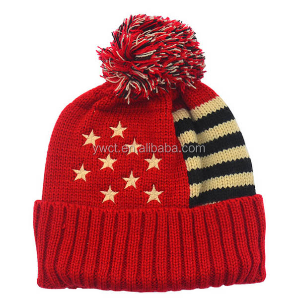 Winter American Logo Beanies Fashion Star Stripe Cap USA Flag Knit Hat With  Pom Pom 9e489200cdf