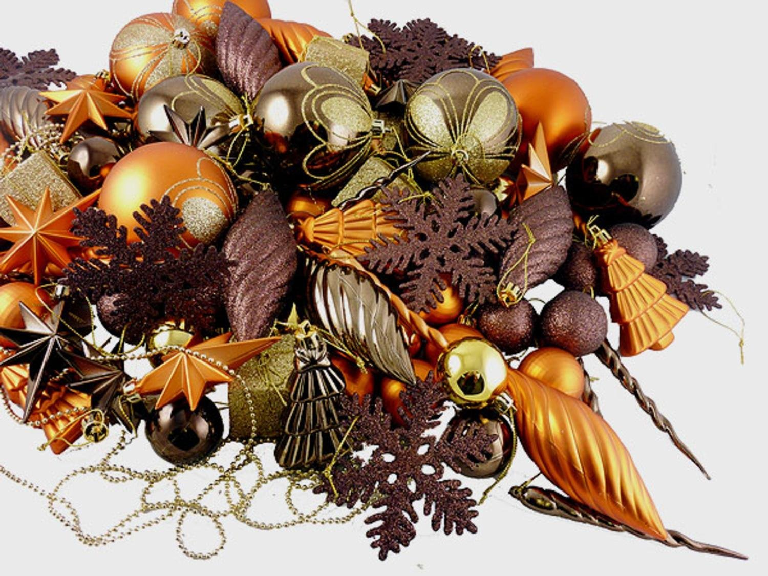 get quotations 125 piece club pack of shatterproof brown copper gold tone christmas ornaments
